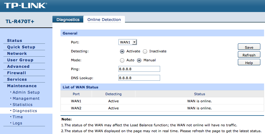 Online Detection settings page